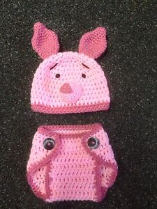 Hand-Crochet-Baby-Piglet-Photo-prop-Diaper-Cover-and-Hat-NEW