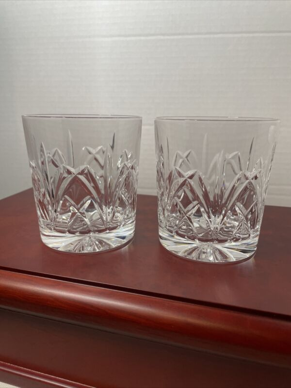 2 WATERFORD BROOKSIDE MARQUIS Whiskey Old Fashioned Glass Tumbler Excellent Cond
