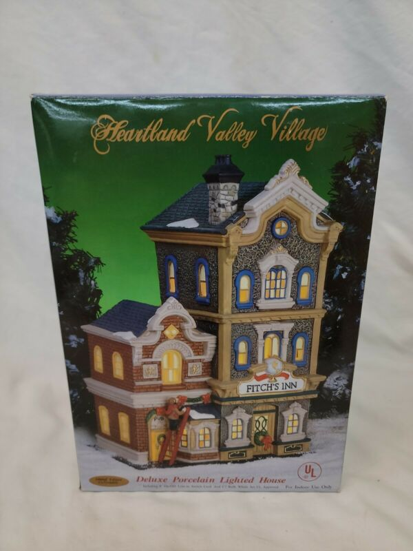 Fitchs Inn Heartland Valley Village Porcelain Christmas Lighted House 2005