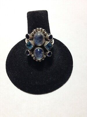 Nicky Butler Sterling Ring Sz 7 Moonstone, Iolite, Blue Topaz, Excellent Iolite Moonstone Ring
