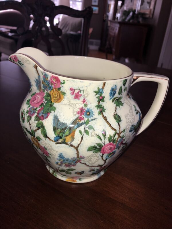 Large Royal Tudor Ware Lorna Doone Bird Flower Milk Jug Pitcher Barker Bros UK