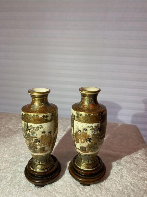 Pair Of Antique Satsuma Vases, Meiji