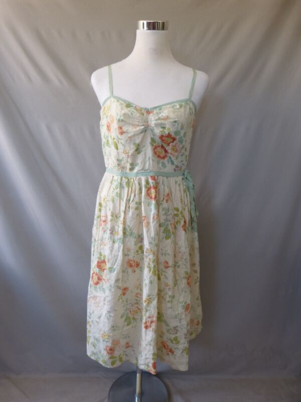 Max Studio Cotton Ivory Floral Satin Straps Sleeveless Mid-Calf Dress Size 10