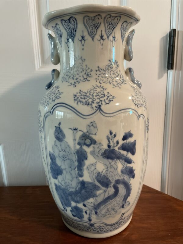 Vintage Chinese Blue And White  Porcelain Vase Urn Chinoiserie 14 Inches