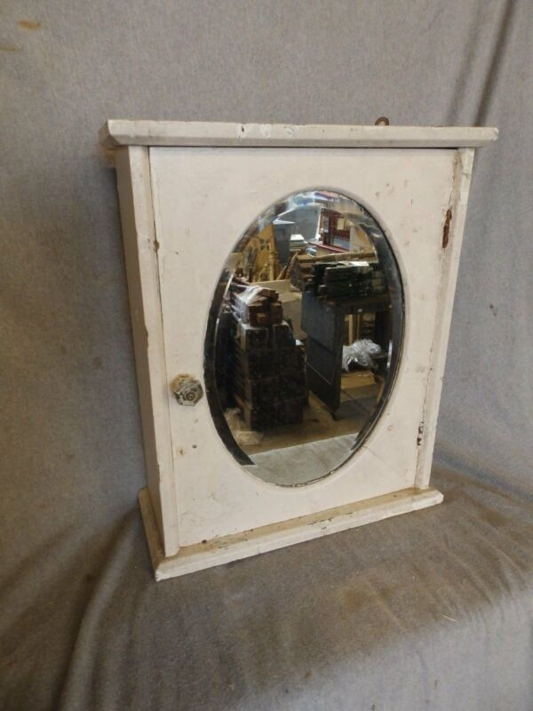 Antique Wood Surface Wall Mount Medicine Cabinet Oval Beveled Mirror 217-17P