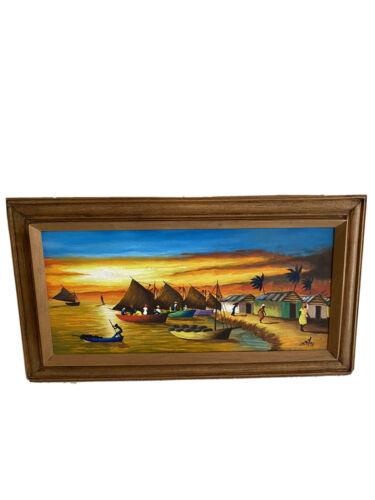 Jamaican Islander Fishing Village Beach Sunset Painting Signed 17x30  - $99.99