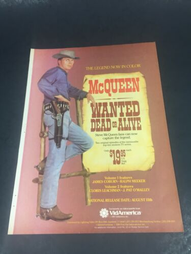 Vintage 1986 Print AD Western Video poster Steve McQUEEN WANTED DEAD OR ALIVE