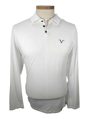 New VERSACE V POLO SHIRT LONG SLEEVE HIGH FASHION Mens White Long Sleeve Small