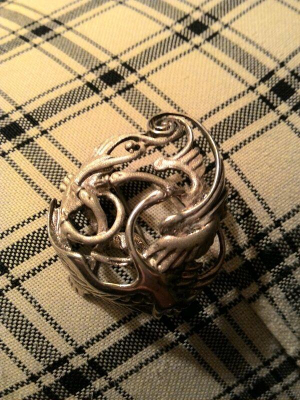 Sterling Celtic Weave Children of Lir Brooch Four Swans Legend--Retail 129.00