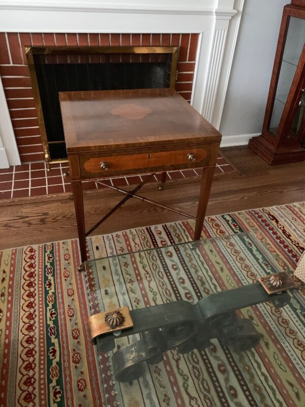 KITTINGER Side Table w/Brass Casters & Drawer (EXC)