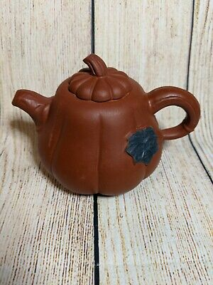 Small Chinese Yixing Purple Clay Ceramic Teapot with Mark Pumpkin Design Leaves