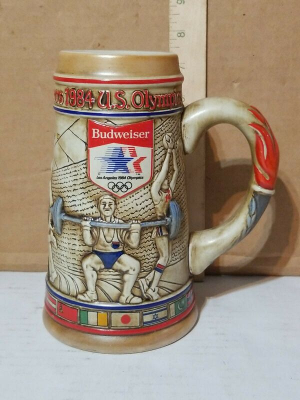 BUDWEISER Beer Stein Mug * 1984 Los Angeles Olympics * Weight Lifting Boxing