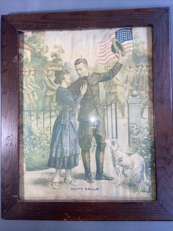 1917 WW I Original Poster Duty Calls EG Renesch Chicago