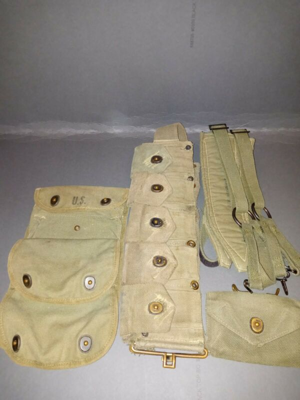 AUTHENTIC WW2 10 POUCH M1 GARAND M1923 CARTRIDGE BELT and more