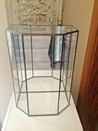 "Curio Cabinet Brass Glass Hanging Vtg Mirror Large 13""  Doll Figurine Display"