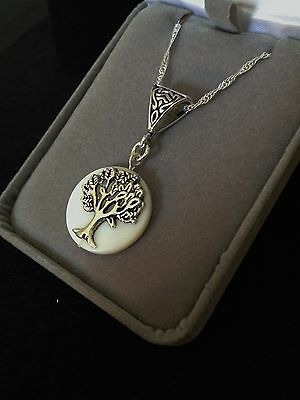 Tree Of Life Mother of Pearl Gemstone Pendant Necklace Sterling Silver Chain 18