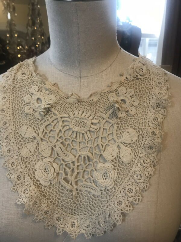 Antique Gorgeous Ornate 3-dimensional Filet Lace Floral Roses Collar Cream