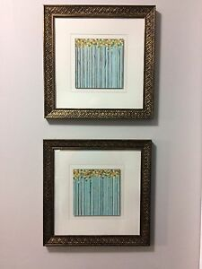 2 Framed blue matching paintings