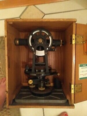 Vintage Keuffel Esser Road Surveying Transit Original Wood Case And Tripod