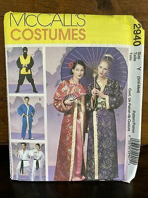 McCalls 2940 Adult Ninja Martial Arts Geisha Costume Pattern Size Sm M Halloween
