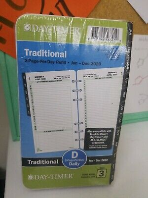2020 Day-timer Traditional Daily 2-page-per-day Planner - Refill Size 3