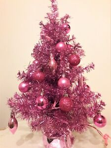 2 ft pink pre lit decorated christmas tree lights ornaments new