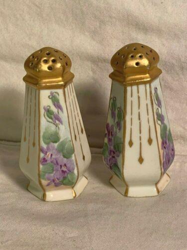 Antique Vintage H.M. BRITT porcelain SALT PEPPER Shakers Gilt Gold Hand Painted