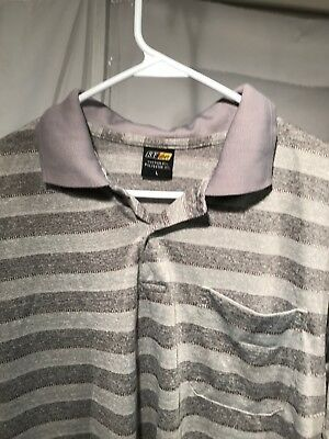 S.F. Deer Mens Polo Grey Striped Short Sleeve Shirt Size - Short Sleeve Deer