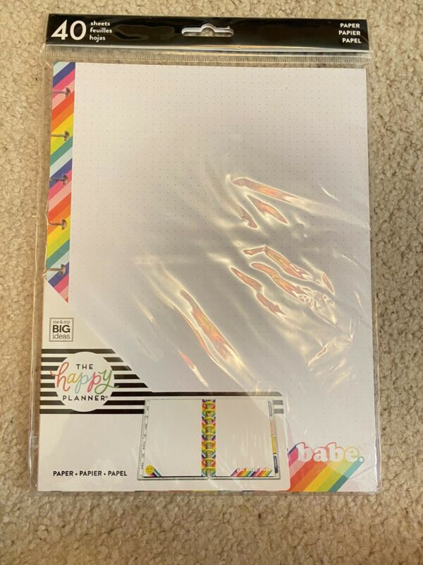 The Happy Planner Color Stripe Grid Dot Insert Refill Paper 40 Sheets Classic Sz
