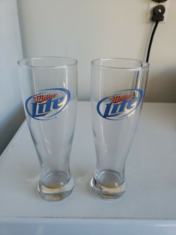 Miller Lite Tall Pilsner Glasses Set Of 2