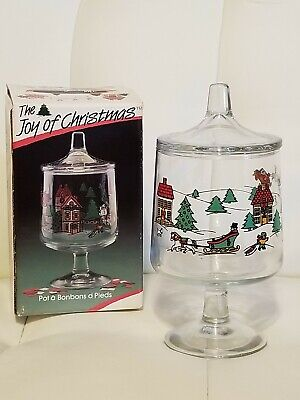 The Joy Of Christmas Glass Candy Jar Bon Bons Footed