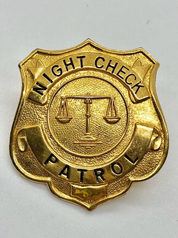 Vintage Night Check Patrol Hat Metal Security Badge s5