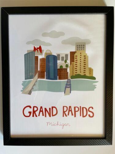 "15"" x 12"" GRAND RAPIDS MICHIGAN FRAMED WALL ART CALDER BEER CITY WEST MICHIGAN"