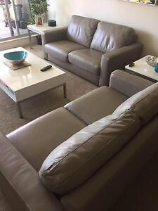 2 x 2.5 Leather Sofas, table set and linen South Brisbane Brisbane South West Preview