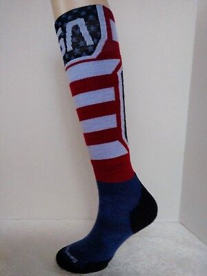 66d35e129 Smartwool PhD USA Ski Socks Womens Medium Red White and Blue Light Cushion