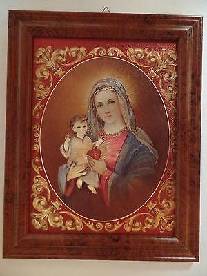 Herz Maria mit Kind Madonna mit Rahmen Alubild A/15 Sonderpreis 2. Wahl