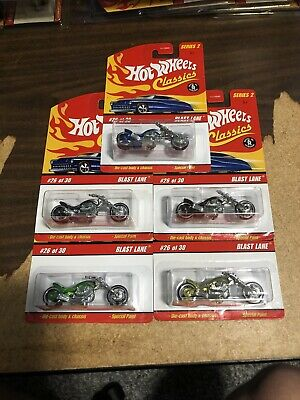Hot Wheels Classics Series 2 Blast Lane Motorcycle Lot Of 5 Different Colors