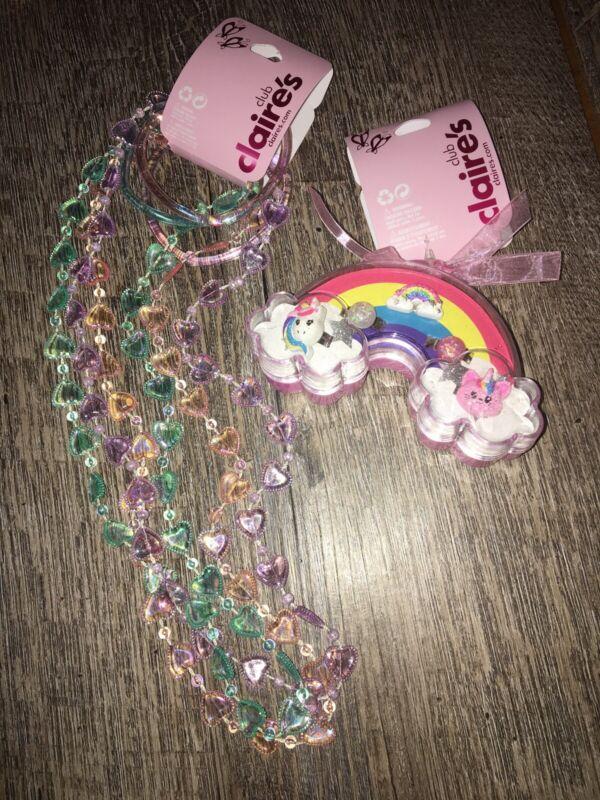 Claire's unicorn Kitty Rainbow Ring Jewelry Box Necklace Bracelet Set Lot