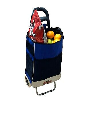 Trolley Dolly Blue Shopping Grocery Foldable Cart