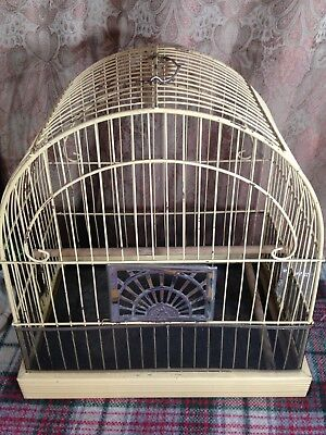 Vintage WIRE BIRD CAGE CROWN ART DECO  with 1 Glass Feeders FREE SHIPPING