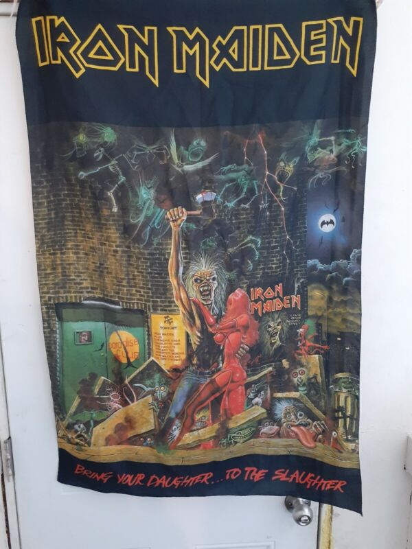 IRON MAIDEN Bring Your Daughter To The Slaughter  FLAG CLOTH POSTER TAPESTRY...