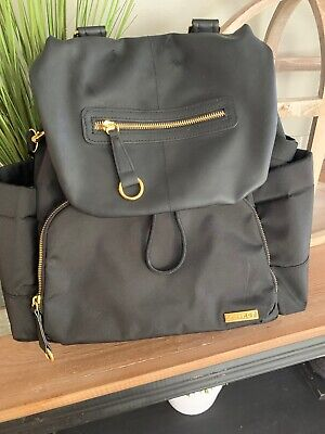 Skip Hop Black and Gold Baby Diaper Bag - Excellent Condition