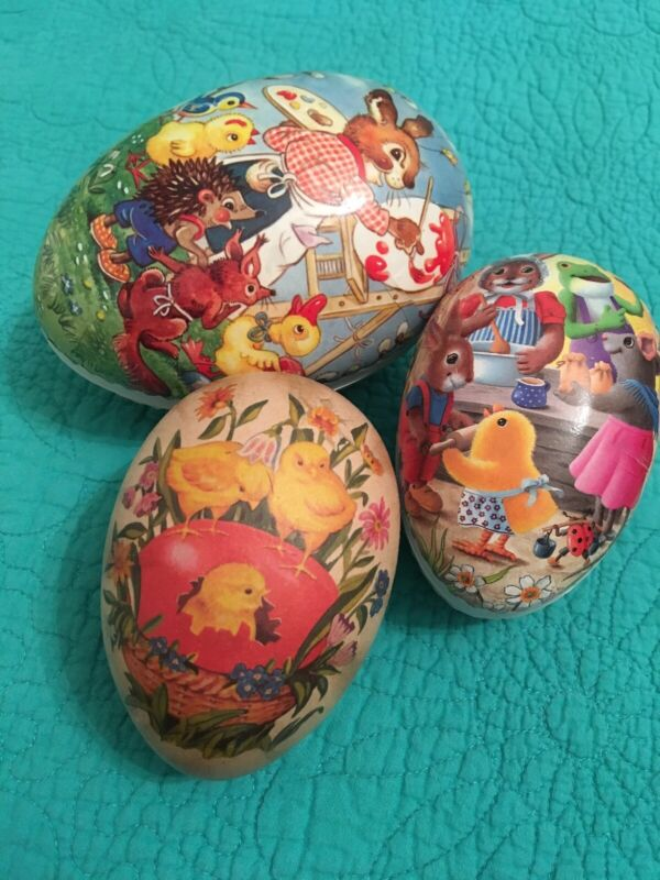 Set Of 3 Paper Mache Easter Egg Candy Containers•Made In Germany
