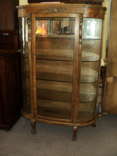 Antique Oak Curved Glass Claw Foot China Cabinet