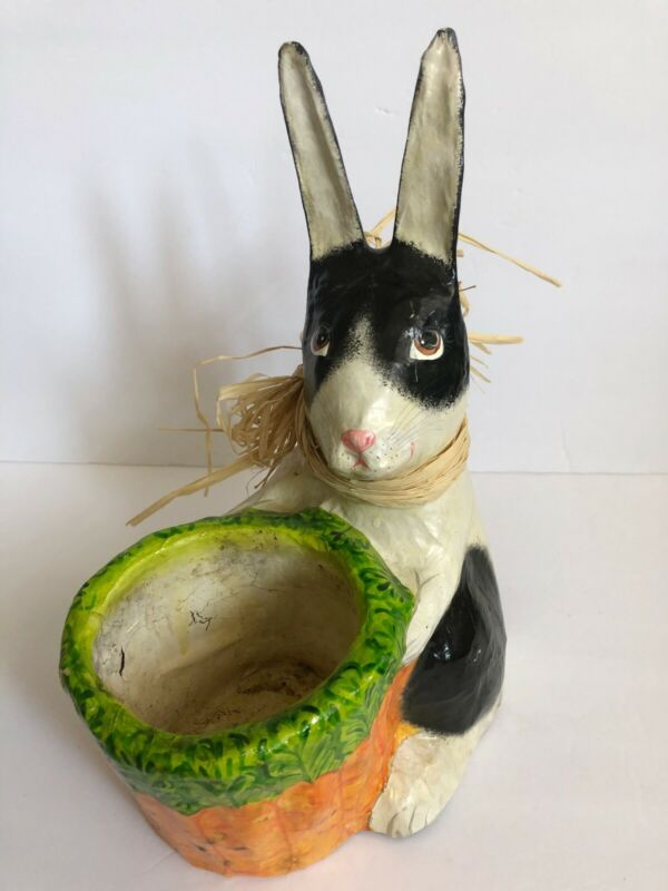 VINTAGE EASTER PAPER MACHE BUNNY RABBIT PLANTER CONTAINER HAND PAINTED 11.75""