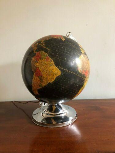"1949 Glass Replogle Illuminated 12"" Globe, Black Oceans Excellent!"