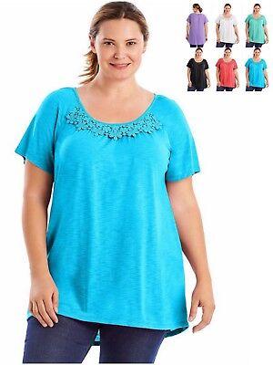 (Just My Size Tunic Slub Top With Crochet Trim OJ247)