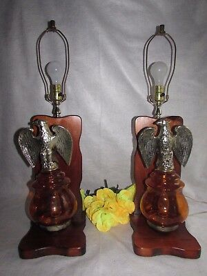PAIR PERCHED EAGLE W BOOKEND STYLE WOODEN BASE TABLE LAMPS 3 WAY LIGHTS 29