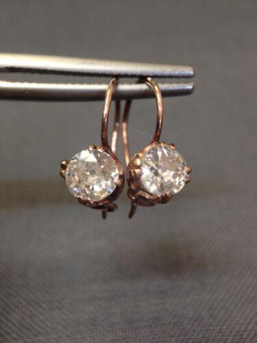 1.2CT Old Mine Cut Diamond 14K Rose Gold Russian Hallmarked Earrings