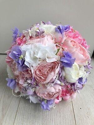 Sweet Pea Wedding Flowers - WEDDING FLOWERS PINK LILAC WHITE SILK BRIDE BOUQUET PEONY HYDRANGEA SWEET PEA